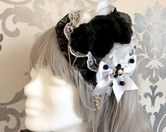 Pretty Gothic Lolita Headdress, key, pendant, lace, blue, blossom, white, resin, black, roses, chain, headpiece, headband, fascinator,pearls