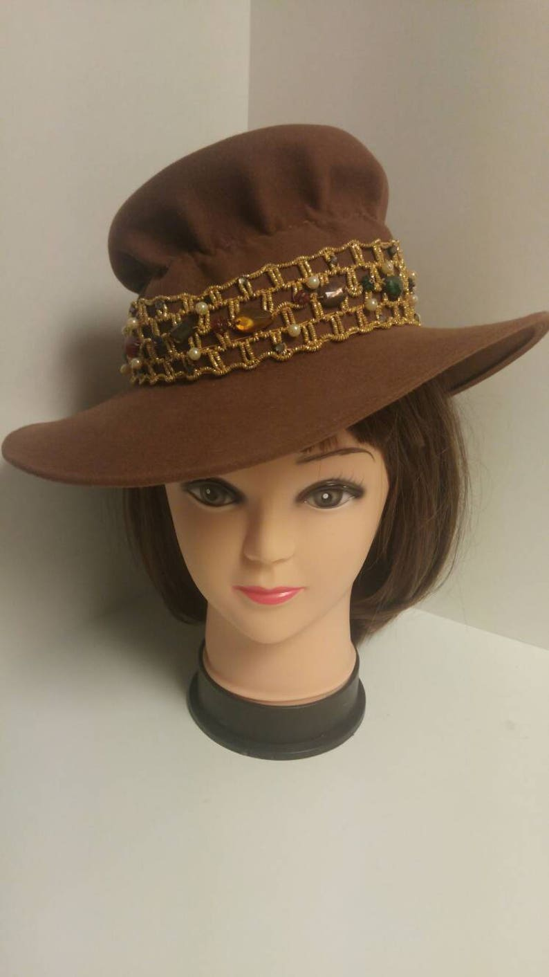 Vintage 1970/'s Brown Felt Wide Rim Hat with Gold Elastic Trim Accnted with Faux Gemstones