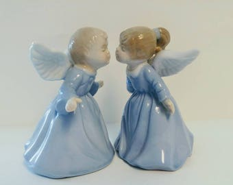 Vintage Kissing Angels Porcelain Figurine Bells, Marked LR