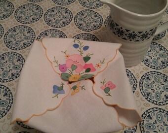 Vintage Cotton Bread Warmer with Floral Applique