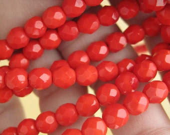 Bright red flapper necklace - 176