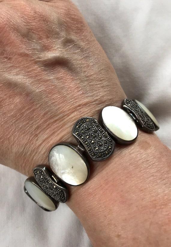 Sterling Marcasite Mother-of-Pearl Bracelet -- 300