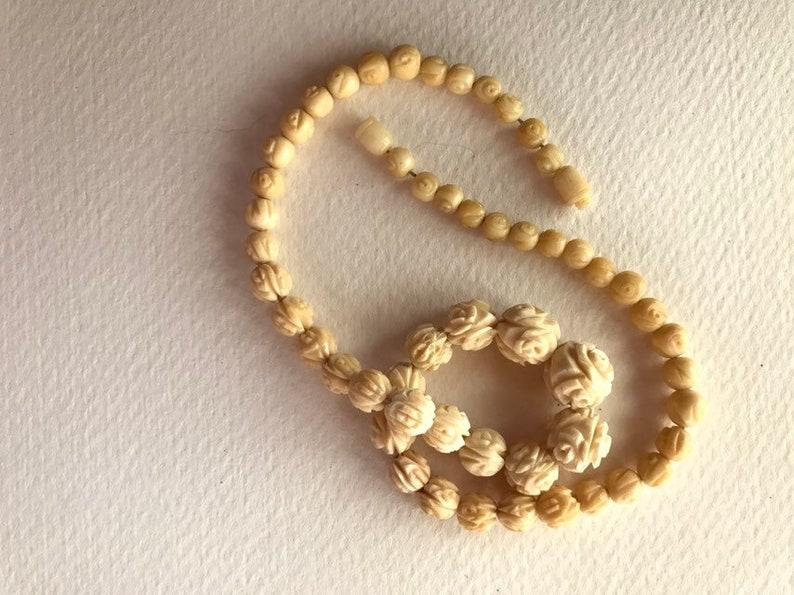 Floral Carved Bone Bead Necklace 0219 95