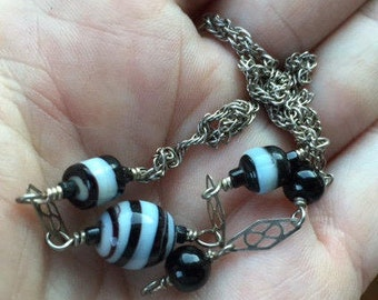 Sterling Striped Bead Necklace -- 319