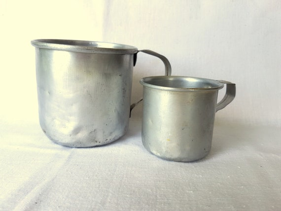 Vintage Aluminum Metal Camping Cup Vintage coffee drinking military army outdoor drink supply container2 small medium Aluminum cups