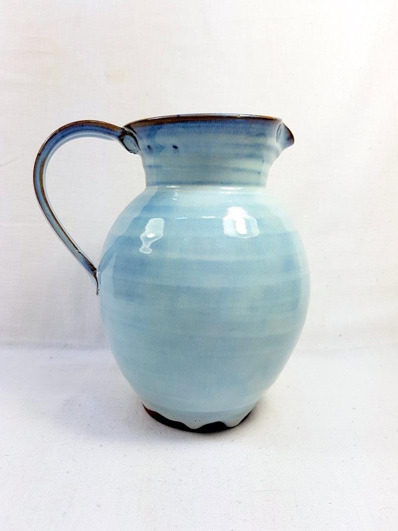 Wine Large Carafe Earthenware Jug Jar pot Bottle Vase Antique French Vintage Clear Sky Blue unique handmade pottery Water handle