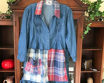 L/XL up cycled blue and red plaid flannel and denim dress; up cycled plaid flannel and denim dress; patchwork dress; plaid dress;
