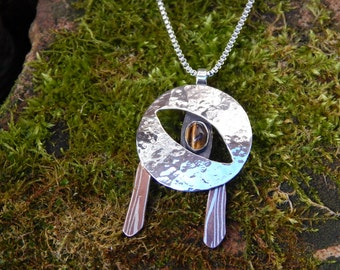 Tears of the Moon - Pendant Necklace Sterling Silver, Mokume, Tiger Eye