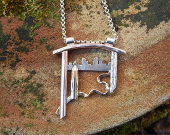 Obelisk on the Edge of Town - Artscape Pendant Necklace in Sterling Silver, Mokume, Gold