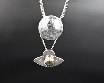 UFO and Moon Necklace Sterling Silver and Gold