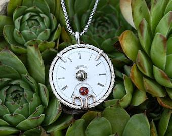 Vintage Elgin Pocket Watch Dial Pendant Necklace