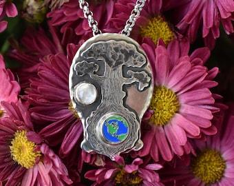 The World Tree - Enamel & Silver Pendant Necklace