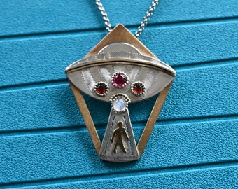 UFO Necklace Alien Abduction Sterling Silver and Gold