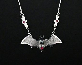 Flying Bat Necklace Sterling Silver