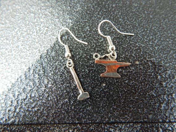 Metalsmith Anvil Blacksmith Sterling Silver Stud Earrings Hammer
