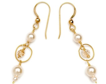 Wire-wrapped Earrings with Swarovski Crystals and Pearls - 453e