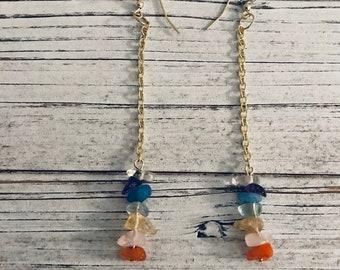 Gold Chakra Earrings, Dangle and Drop, Crystal Earrings, Semi Precious Stones, Gold Earrings, Healing Stones, Colorful Jewelry