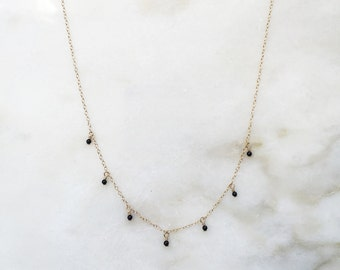 Halfway dangle gemstone necklace | Natural gemstones | 14k gold filled & sterling silver