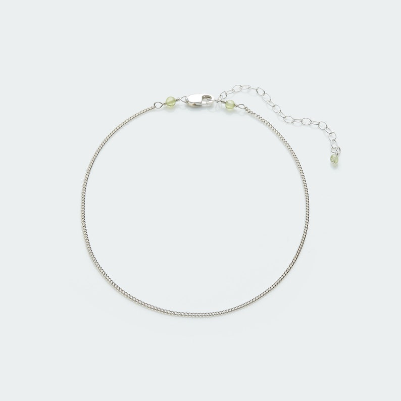 Curb chain anklet Silver curb chain with gemstone Sterling silver