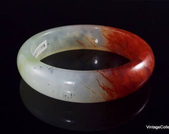 Vintage Certified Natural Xiuyan Jade Bangle translucent Red and White 59mm - CB12406