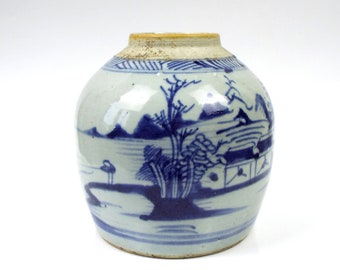 Antique Chinese Vase Qing Dynasty 1900s,  Blue and White Ginger Vase of Swatow Chinese porcelain (Zhangzhou) S. XIX. Certified