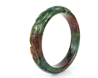 """Green & Red Jadeite Jade Bangle 61mm - 2.4"""", Ruyi, bats and chinese lucky coins carved Jade bangle, carved bangle for woman"""