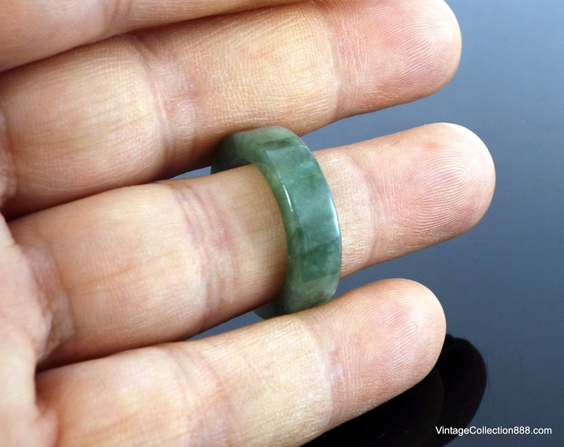 US 8 Untreated Jade Ring Green and White Natural Jadeite Jade Ring with straight cut Certified Jadeite Jade Ring Grade A Green JADE RING
