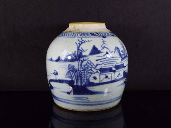 Antique Chinese Blue And White Ginger Vase Of Swatow Chinese Etsy