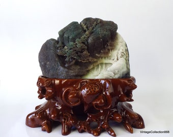 """7.5"""" Shanzi Statue carved in Dushan Jade of tree on mountain, pagodas and bridge over the river, Green, brown, white Dushan Jade Landscape"""