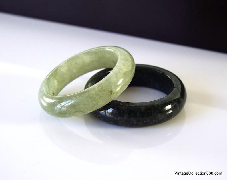 Two Green Jade Rings stackable Jade rings size US 7 interchangeable jade rings Natural Jadeite Jade rings Dark Green and Light Green