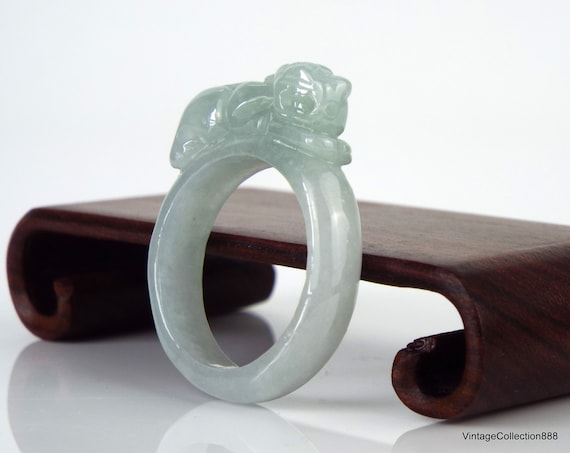 Pixiu Jade wide ring for women Natural Jadeite Jade Ring light Green with Certificate and Pixiu carved PiXiu Jade Ring US 8.75-18.8mm