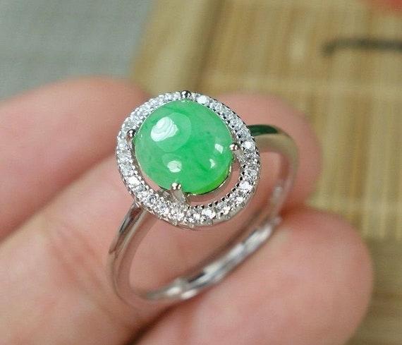 Translucent green Jadeite Jade ring certified with rhinestones adjustable jade ring US 7-8 Translucent Icy apple Green Jade Ring