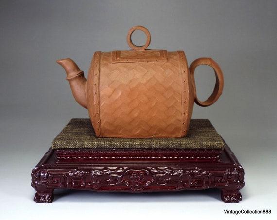 "7/"" China Old Antique handmade yixing zisha teapot hetian jade handle Spout"