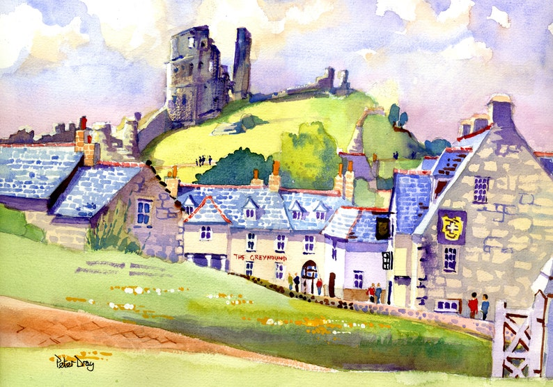 Corfe Castle and Village Dorset. Ruin National Trust. The image 0