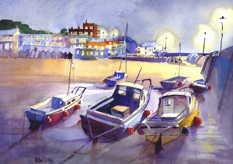 Broadstairs Kent Low Tide Evening. Boats and Jetty and image 0