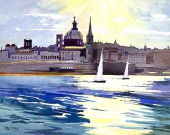 Malta, Valletta from Sliema. Yachts