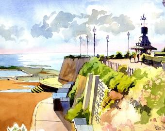 Clock Tower, Broadstairs, June. Kent. Beach, Sea and Chalk Cliffs