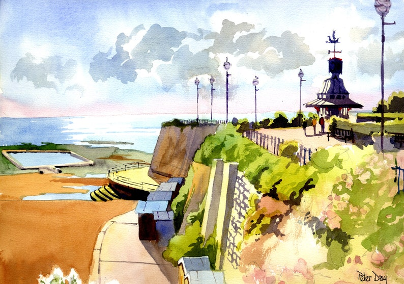 Clock Tower Broadstairs June. Kent. Beach Sea and Chalk image 0
