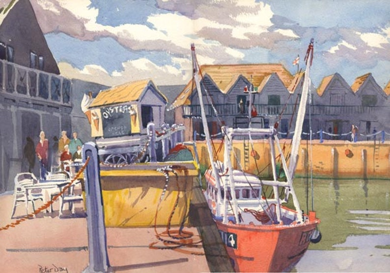 Busy Harbour Whitstable Kent  New Original Watercolour 13 image 0