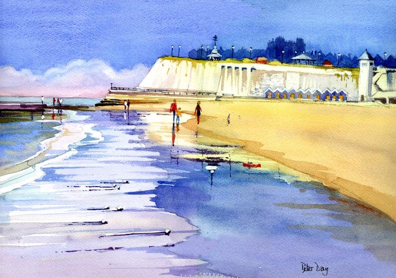 Broadstairs Low Tide Viking Bay Kent. Beach Sea & Chalk image 0
