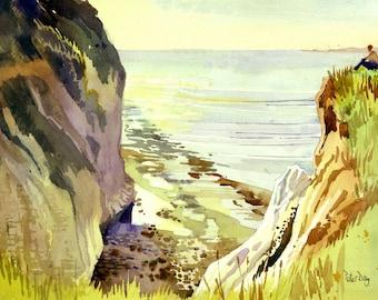 Devils Drop, Pegwell Bay, Cliffs End, Ramsgate, Kent. Chalk cliffs, Chasm. Sea
