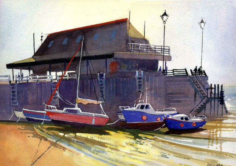 Early Morning Boats and Jetty Broadstairs Beach Scene Kent image 0