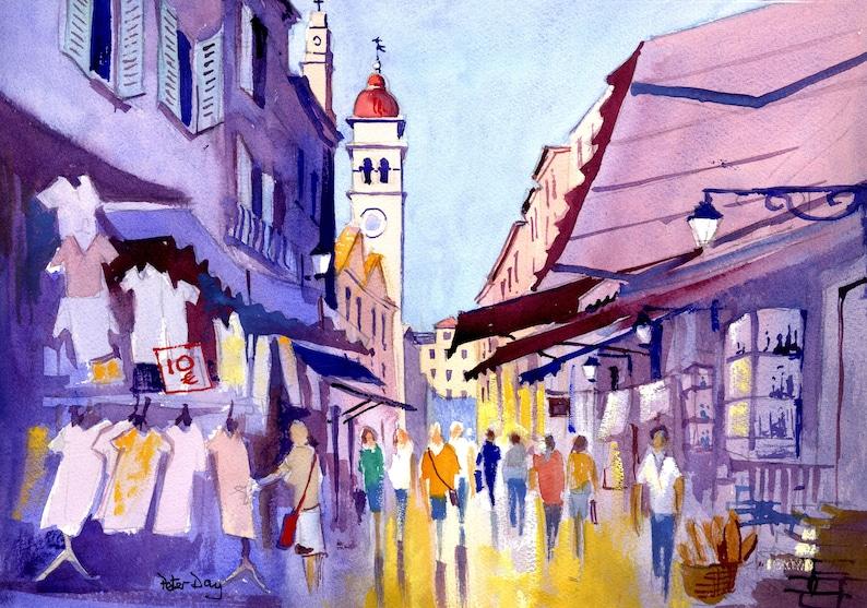 Corfu Town Kerkirs. Shops Market Church. People image 0