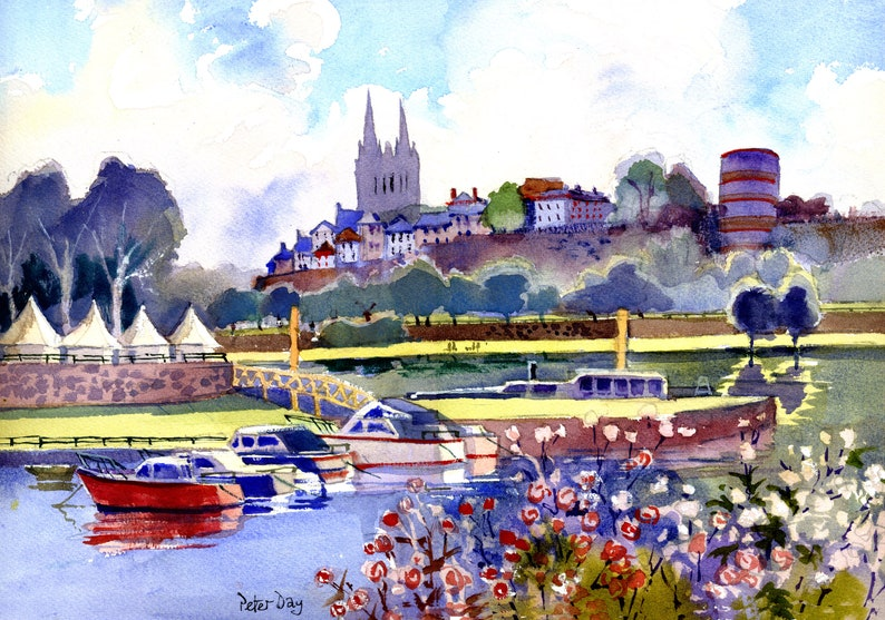 River Loire at Angers France. Cathedral and Boats image 0