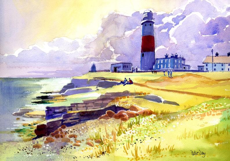 Portland Bill Lighthouse Weymouth Dorset. Cliffs Clouds & image 0