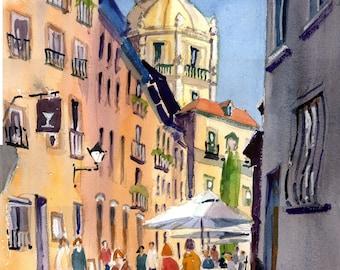 Salamanca, Libreros, Spain. Main Street & Church Tower