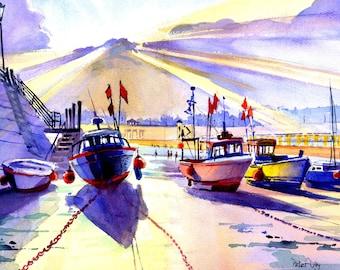 Boats at Low Tide, Viking Bay, Broadstairs. Sea and Beach. Kent