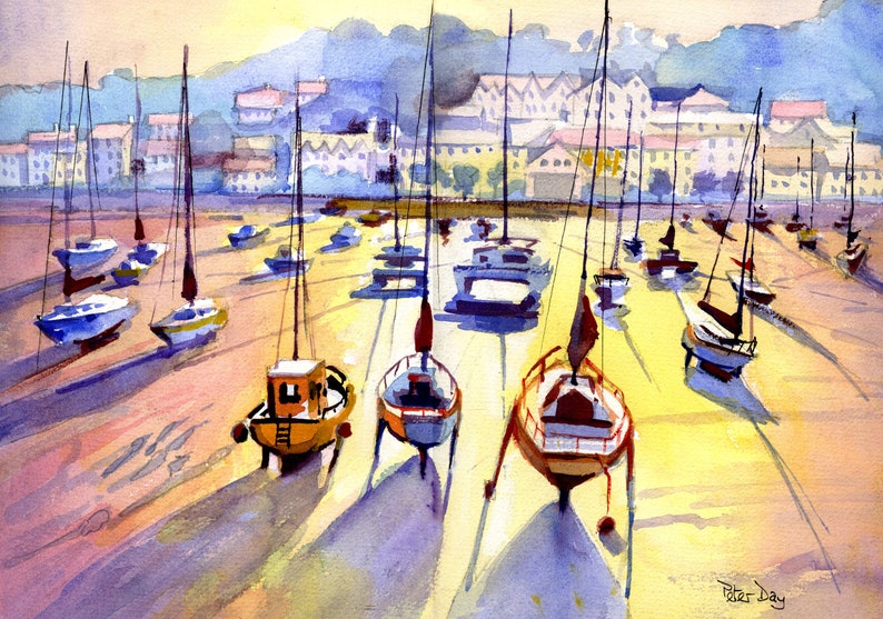 Jersey St Aubin Harbour. Sunset boats beach & harbour. image 0