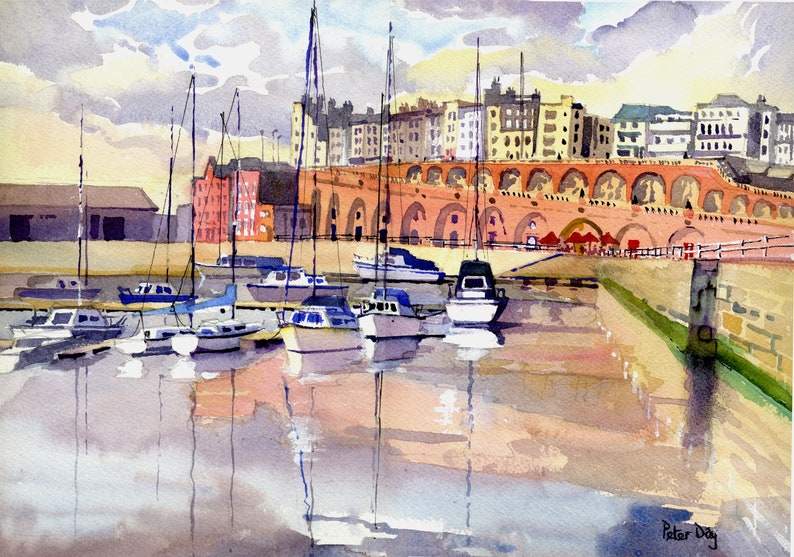 Showers Ramsgate Harbour Kent Coast. Marina Arches and image 0