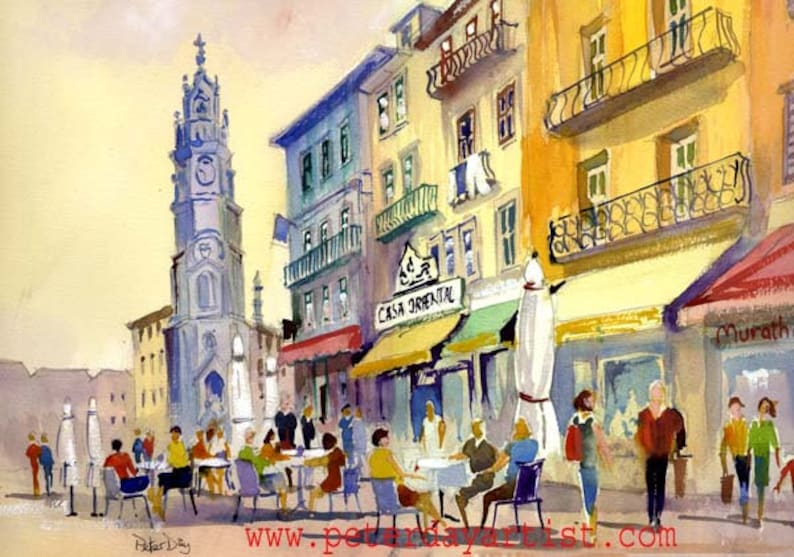 Clerics Tower and Cafe Scene Porto Portugal image 0
